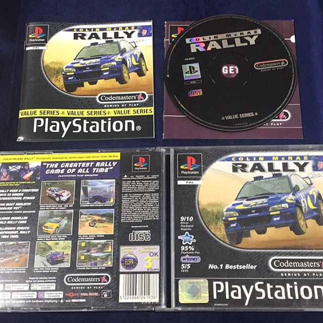 Colin McRae Rally, classic PlayStation 1 game, has the manual, original box  and Codemasters promo manual, disc is smudged and box is damaged at front